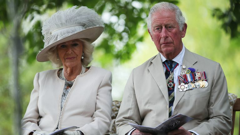 The Prince of Wales and the Duchess of Cornwall during the National Remembrance Service