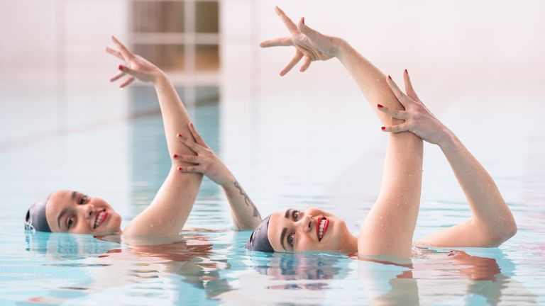 Rebecca Richardson and Genevieve Florence (pictured) are among members of the Aquabatix synchronized swimming team who hit the pool at Clissold Leisure Center, north London