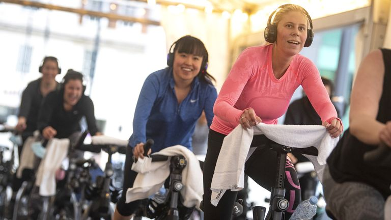 Gyms are open again, with spin classes, like this one, available