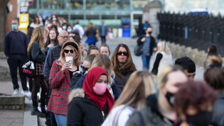 Buyers line up outside Primark in Norwich as England take another step back to normal with further easing of lockdown restrictions.  Photo date: Monday, April 12, 2021.