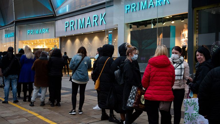 Early morning buyers at Primark in Birmingham as England take another step back to normal with further easing of lockdown restrictions.  Photo date: monday, april 12, 2021