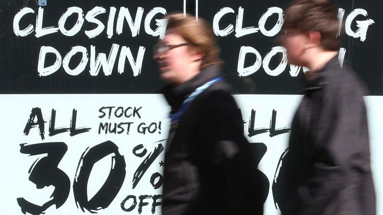 Buyers walk past closing discount stores in Nottingham as England takes another step back to normal with further easing of lockdown restrictions.  Photo date: Monday, April 12, 2021.