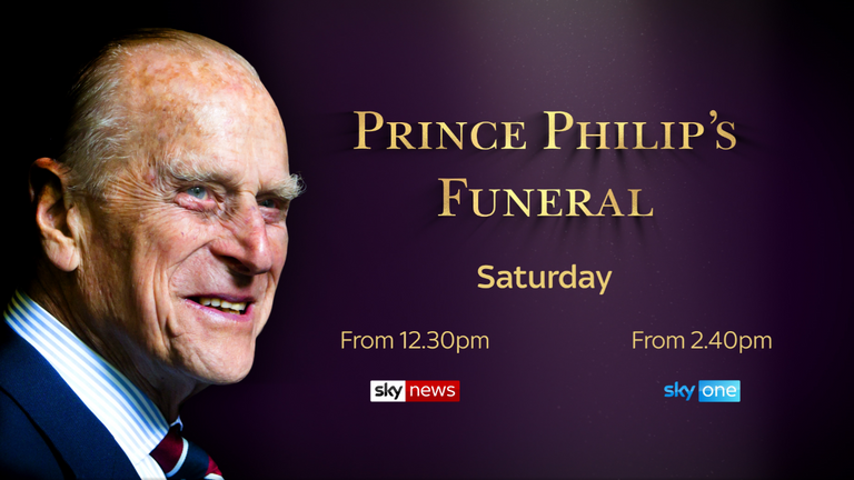 Watch and follow live coverage of Prince Philip's funeral service on Sky News starting at 12:30 p.m. Saturday.