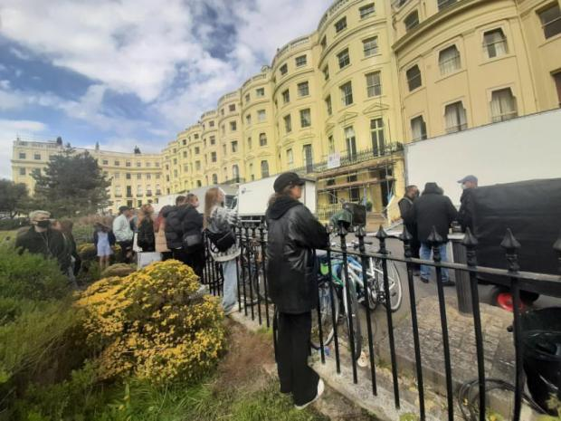 The Argus: Fans await Harry Styles in Brunswick Square, Hove