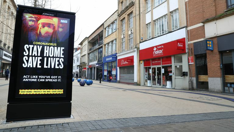 A 'Stay Home, Save Lives' sign on Broadmead in Bristol during England's third national lockdown to curb the spread of the coronavirus.  (Andrew Matthews / PA)