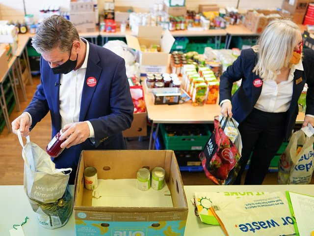 Labor leader Sir Keir Starmer and West Yorkshire mayoral candidate Tracy Brabin packing a box of food while visiting a food bank project at St Giles Food Share in Pontefract, West Yorkshire, during the election campaign to the mayor of West Yorkshire.  Photo: PA