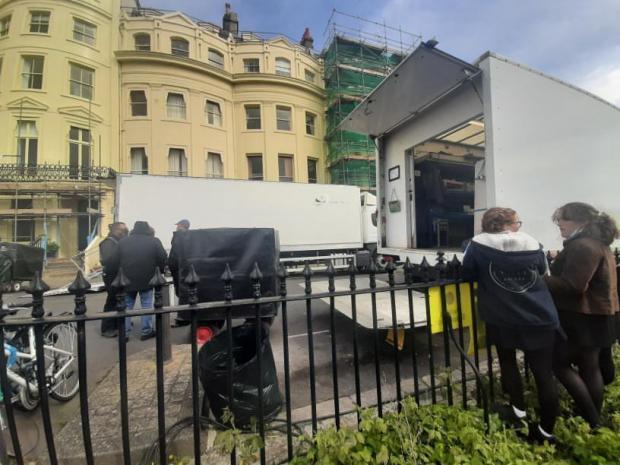 The Argus: camera crews in Brunswick Square, Hove