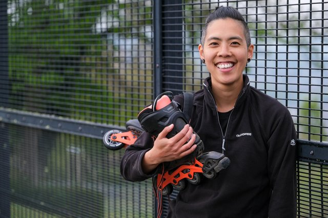Frit Tam practices rollerblading in Bole Hill Park before taking on his LGBGT awareness challenge.