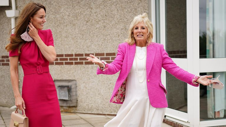 US First Lady Jill Biden and British Duchess Catherine, Duchess of Cambridge react during a visit to Connor Downs Academy, in Hayle, Cornwall, Britain June 11, 2021. Aaron Chown / Pool via REUTERS