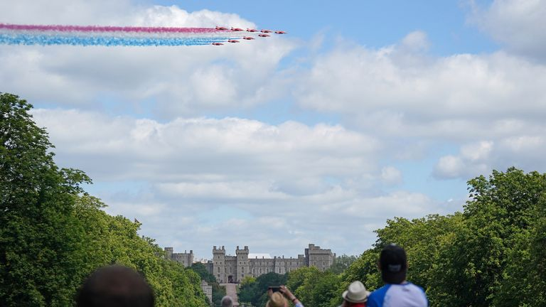 A flyover over Windsor Castle by the Red Arrows for the Queen's official birthday