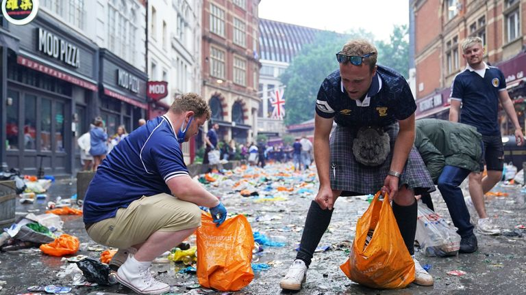 Scottish supporters gather in Leicester Square ahead of the UEFA Euro 2020 match between England and Scotland later this evening.  Picture date: Friday June 18, 2021.