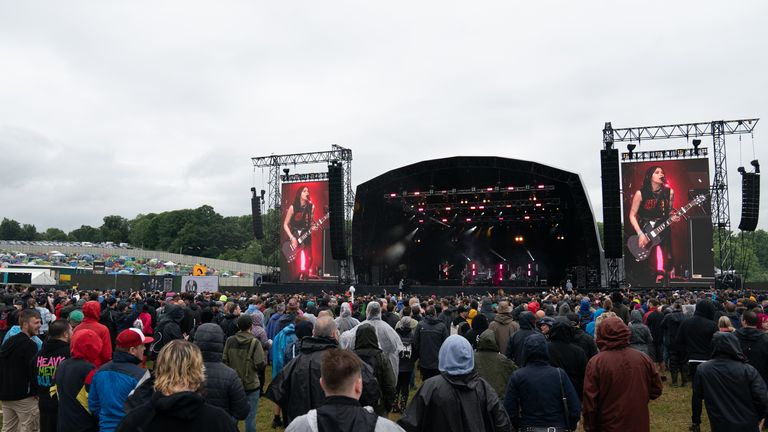 Festival goers didn't need to wear masks or socially distance themselves on the first day of the Download Festival