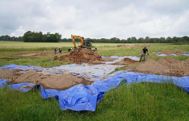 The Argus: an excavation has started at the crash site near Arundel Castle