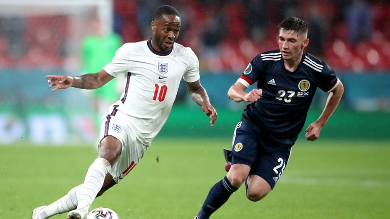 England's Raheem Sterling (left) and Scotland's Billy Gilmour fight for the ball in the UEFA Euro 2020 Group D match at Wembley Stadium, London.  Picture date: Friday June 18, 2021.