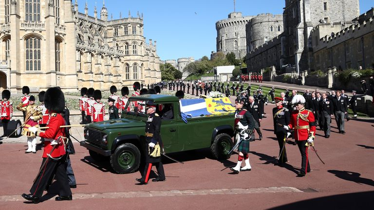 The Duke's coffin was transported on a Land Rover at his request